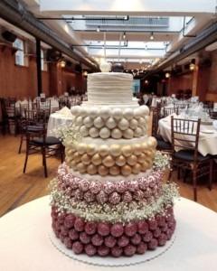 Fall Burgandy and Gold Wedding Cake Pop Cake